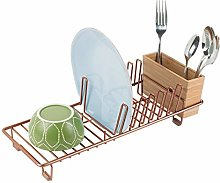 mDesign Kitchen Sink Dish Drainer – Small Metal