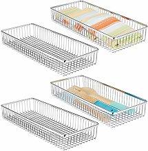 mDesign Metal Farmhouse Kitchen Cabinet Drawer