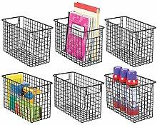 mDesign Metal Wire Storage Basket Bin with Handles