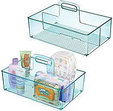 mDesign Nursery Plastic Storage Caddy Divided Bin