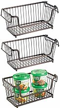 mDesign Open Wire Storage Basket for Kitchen,
