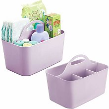 mDesign Plastic Nursery Storage Caddy Tote,