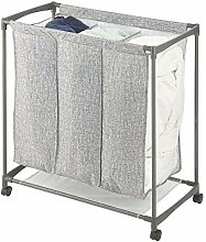mDesign Rolling Laundry Basket with 3 Compartments