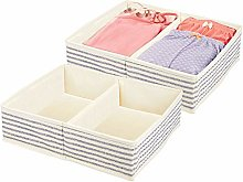 mDesign Set of 2 Canvas Wardrobe Organiser –