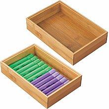 mDesign Set of 2 Desk and Drawer Organiser Box –
