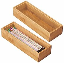 mDesign Set of 2 Desk and Drawer Organiser Box –