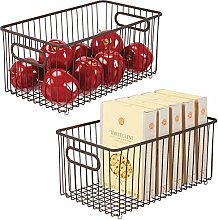 mDesign Set of 2 Extra Large Wire Basket with