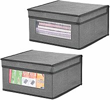mDesign Set of 2 Fabric Wardrobe Box for Nursery