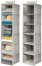 mDesign Set of 2 Hanging Wardrobe Organiser –
