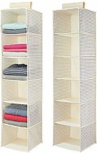 mDesign Set of 2 Hanging Wardrobe Organiser –