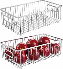 mDesign Set of 2 Large Wire Basket with Handles