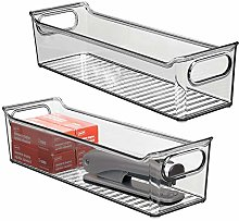 mDesign Set of 2 Plastic Storage Bin with Handles