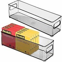 mDesign Set of 2 Plastic Storage Bin with Handles
