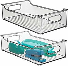 mDesign Set of 2 Plastic Storage Bin with