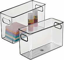 mDesign Set of 2 Plastic Storage Bin with