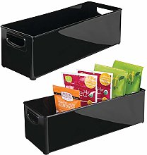 mDesign Set of 2 Plastic Storage Box – Long