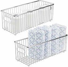 mDesign Set of 2 Storage Basket – Long Metal