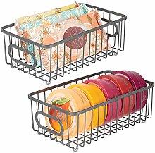 mDesign Set of 2 Storage Basket – Small Metal