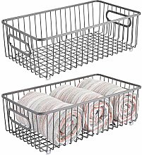 mDesign Set of 2 Storage Baskets – Metal Wire