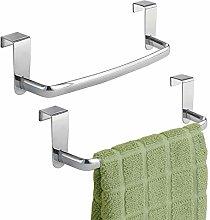 mDesign Set of 2 Tea Towel Holder – Over Door