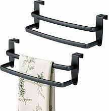 mDesign Set of 2 Tea Towel Holder - Over Door