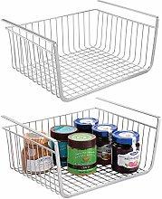 mDesign Set of 2 Under Shelf Basket – Large Wire