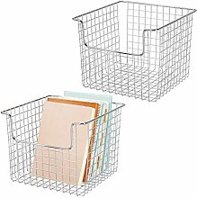 mDesign Set of 2 Wire Basket for Cupboards or