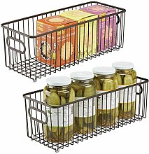 mDesign Set of 2 Wire Basket with Handles — Long