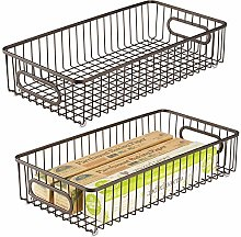 mDesign Set of 2 Wire Basket with Handles — Wide