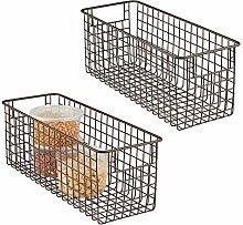 mDesign Set of 2 Wire Storage Baskets - Deep &
