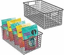 mDesign Set of 2 Wire Storage Baskets - Stylish &