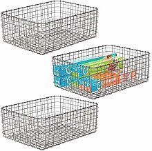mDesign Set of 3 Wire Storage Basket — Compact
