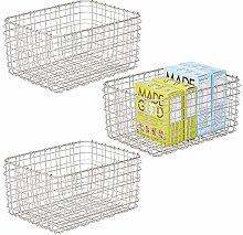 mDesign Set of 3 Wire Storage Baskets — Wire