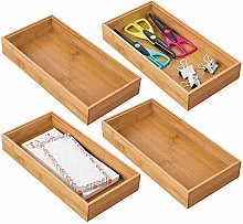mDesign Set of 4 Desk and Drawer Organiser Box –