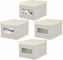 mDesign Set of 4 Fabric Wardrobe Box for Nursery