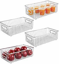 mDesign Set of 4 Large Wire Basket with Handles