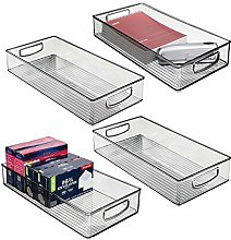 mDesign Set of 4 Plastic Storage Bin with Handles