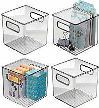 mDesign Set of 4 Plastic Storage Bin with Handles
