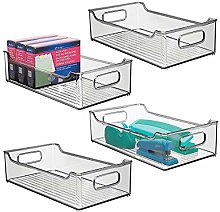 mDesign Set of 4 Plastic Storage Bin with