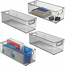 mDesign Set of 4 Plastic Storage Bin with