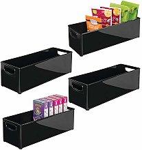 mDesign Set of 4 Plastic Storage Box – Long