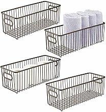 mDesign Set of 4 Storage Basket – Long Metal