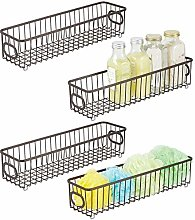 mDesign Set of 4 Storage Basket – Metal Wire