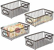 mDesign Set of 4 Storage Basket – Small Metal