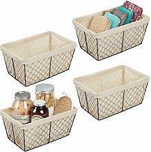 mDesign Set of 4 Storage Baskets – Large Wire