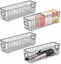 mDesign Set of 4 Storage Baskets – Metal Wire