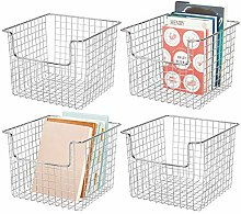 mDesign Set of 4 Wire Basket for Cupboards or
