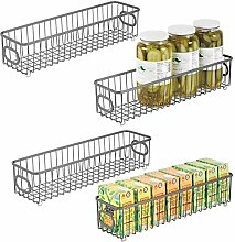 mDesign Set of 4 Wire Basket with Handles — All