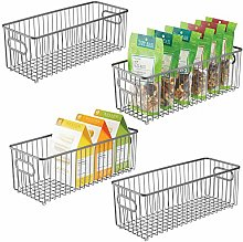 mDesign Set of 4 Wire Basket with Handles — Long