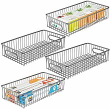 mDesign Set of 4 Wire Basket with Handles — Wide
